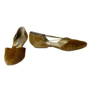 Sesto Meucci Henri Bendel Ballet Flats Gold Suede